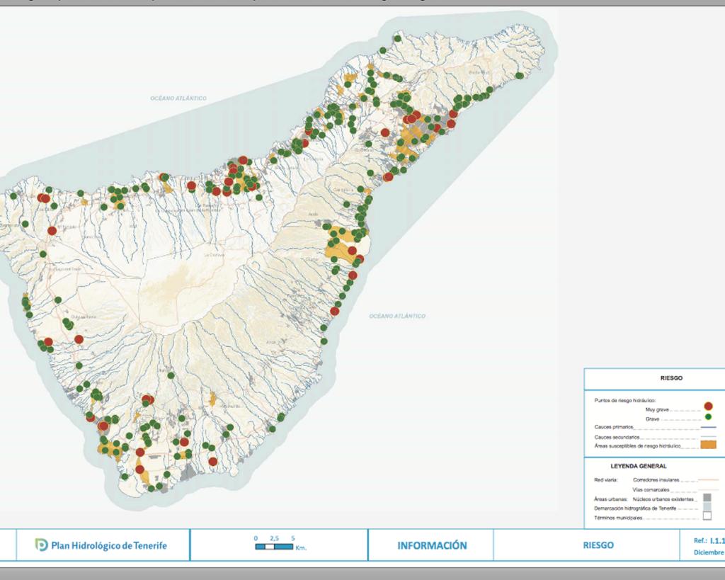 Zonas de riesgo grave y muy grave cuando llueve fuerte en Tenerife
