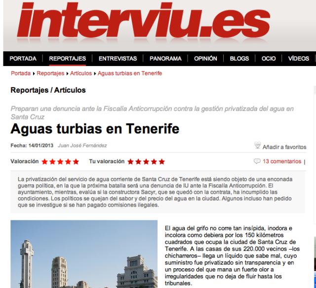 """Para leer la introducción del reportaje de Interviú """"Aguas Turbias en Tenerife"""" en su edición original (Interviú), hacer click sobre la imagen."""