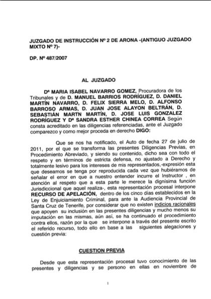 Recurso acusados Caso Arona, 1