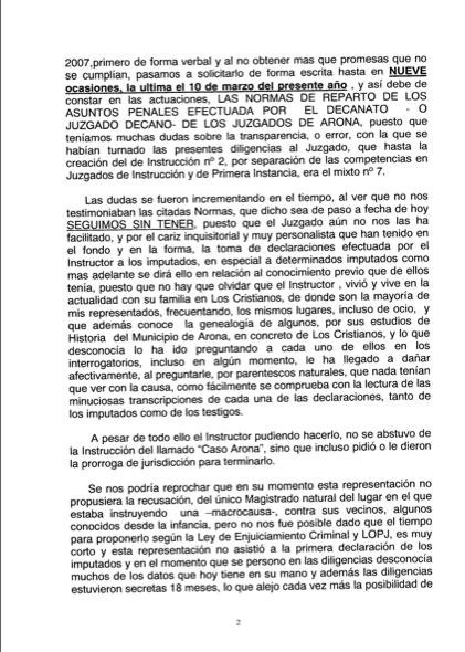 Recurso acusados Caso Arona, 2