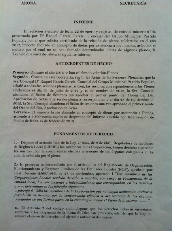 """La secretaria del Ayuntamiento de Arona responde que la oposición perdió el derecho a dietas de cinco plenos """"por mala fe"""""""