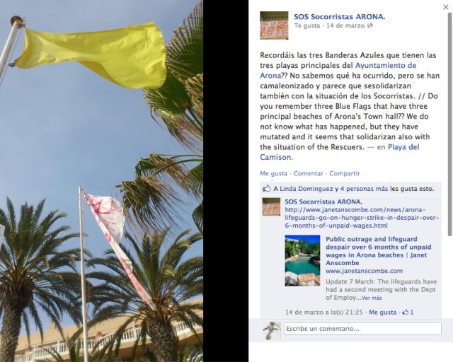 Desaparecen las tres banderas azules de las playas de Arona. ¡Han mutado al amarillo!