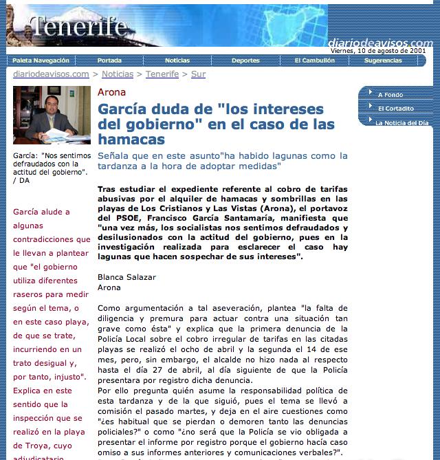 Escandalo Hamacas Las Vistas Los Cristianos 2001 (diario de avisos)