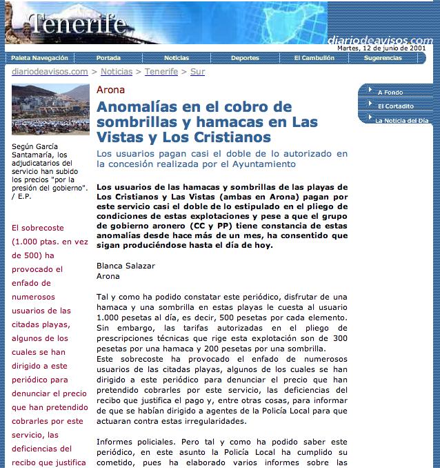 Escándalo hamacas en Los Cristianos y Las Vistas, 2001 (Diario de Avisos)