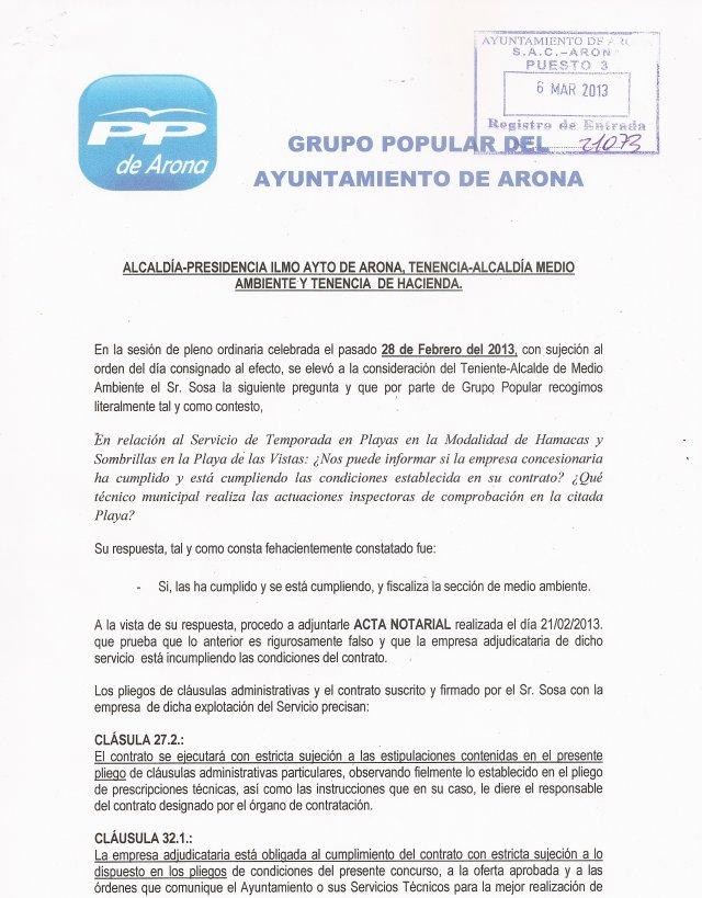 PP denuncia infracción servicio hamacas Las Vistas, 2013