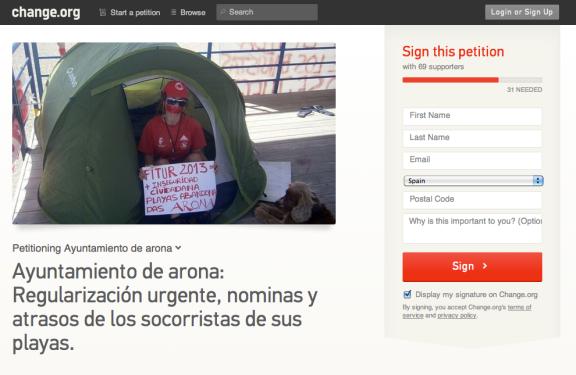Pinchar sobre la imagen para enlazar con change.org y firmar en esa campaña de apoyo a los socorristas de Arona.