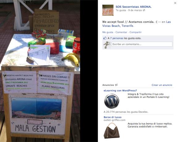 """Cartel de """"aceptamos comida"""" en el puesto de salvamento de la playa de Las Vistas."""