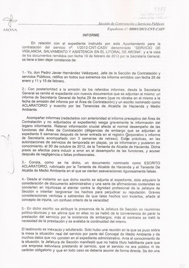 Técnico municipal denuncia presiones e ingerencias políticas (Servicio Socorrismo Arona), 1