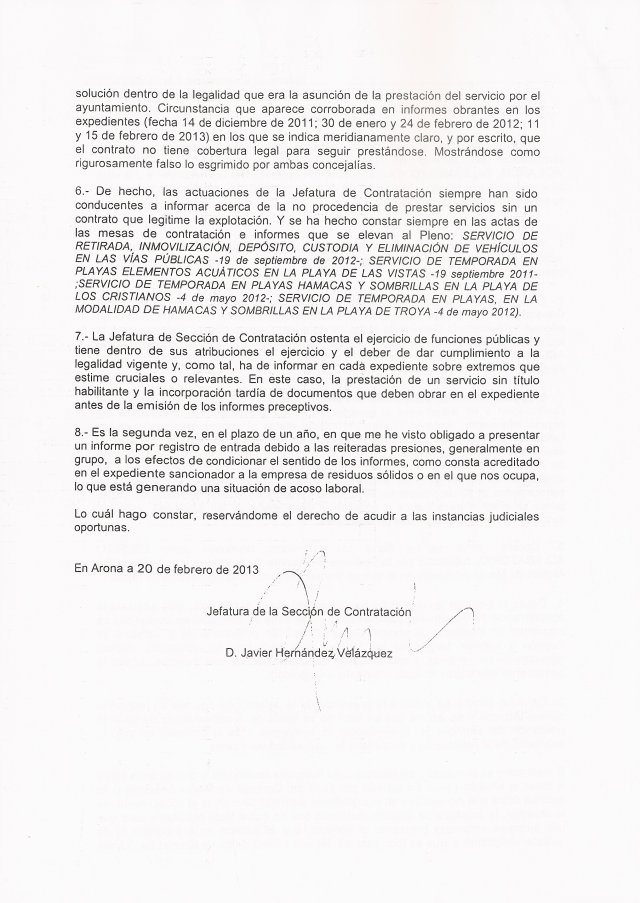 Técnico municipal denuncia presiones e ingerencias políticas (Servicio Socorrismo Arona), 2