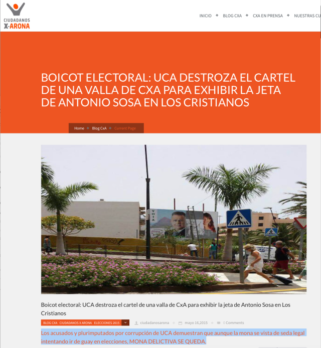 Hacer clic sobre la imagen para leer el artículo de Ciudadanos x Arona sobre el ataque delictivo perpetrado por Sosa y UCA contra una propiedad de CxA.